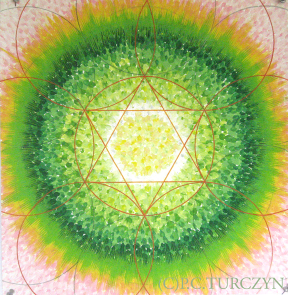 Heart Chakra Mandala. Tempura, gouache, Smooch and crystal on paper.