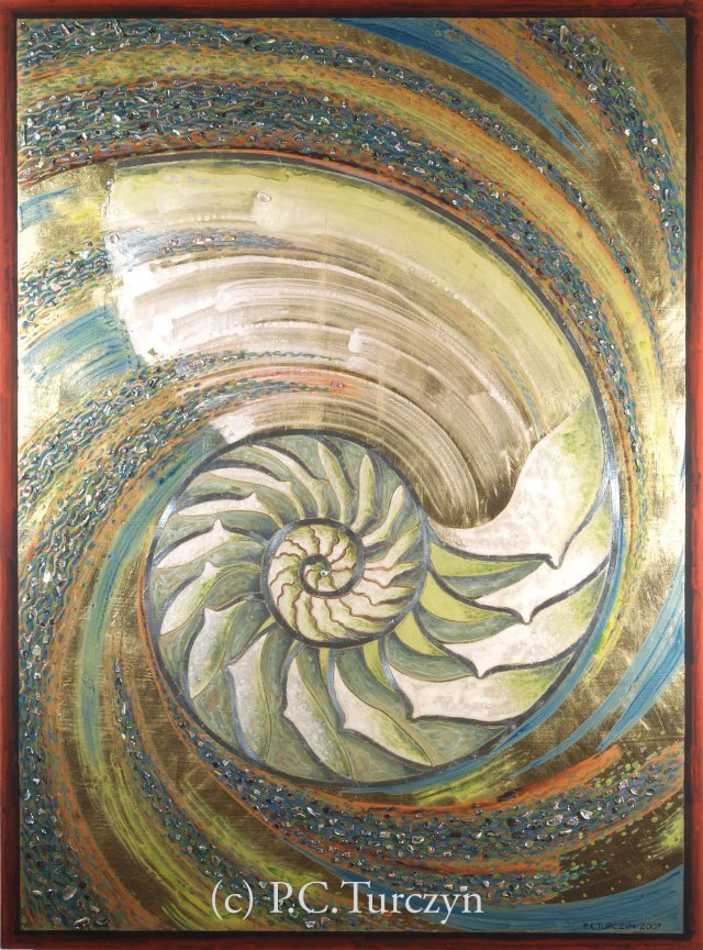 """Maelstrom"" 4'H x 3'W. Aluminum & Composition Gold Leaf, Abalone, Mica, Pigments on Wood Panel."