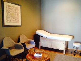 """Reiki: the Infinite Field"" in an integrative practice exam room in California."