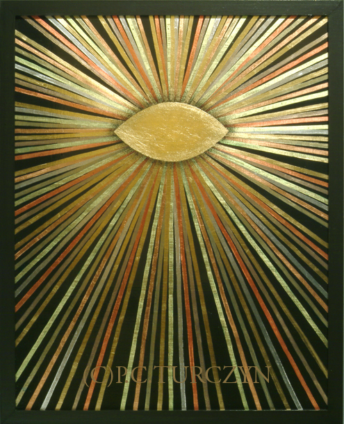 """I AM."" Copper, aluminum & composition gold leaf, pigments on wood panel."