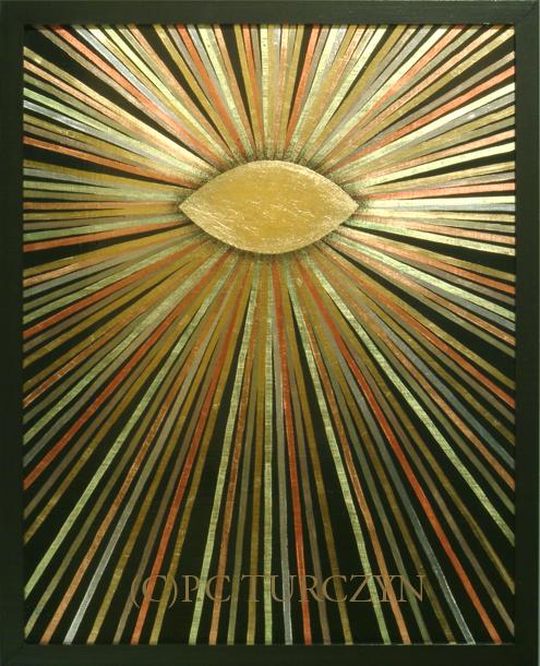 """I AM."" Copper, aluminum & composition gold leaf, pigments on wood panel."