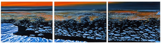 "2013 Winner of the Manhattan Arts International Award of Excellence: ""Iceberg Wasteland"" by Mary Lou Dauray. Oils on canvas. 24"" x 90"". www.maryloudauray.com"