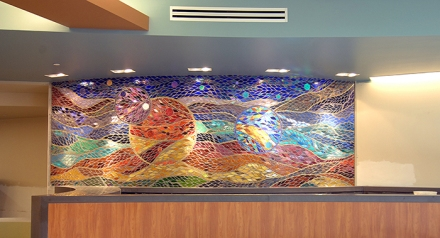 A colorful mosaic at St.Joseph Mercy Oakland by Jacqui Ridley and Morrine Maltzman